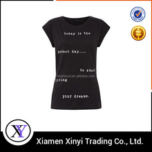 Korea fashion black oem custom cheap women t shirt