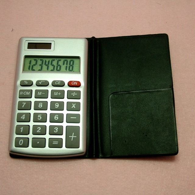 8 digit electronic business calculator with leather flap extension