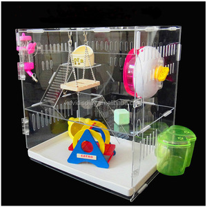 2017 Luxury Clear Acrylic Hamster Cage With Ventilation And Playground