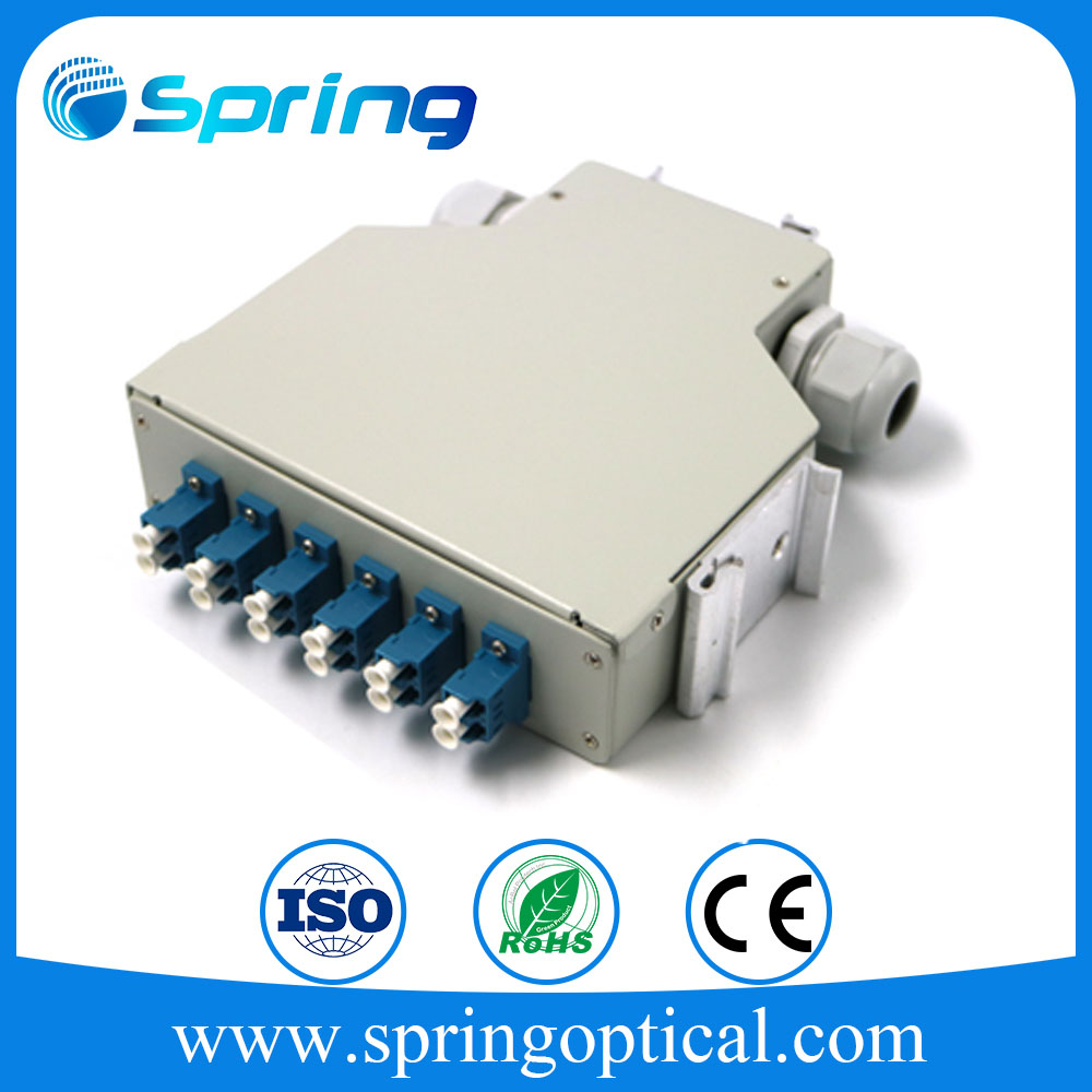 High quality 12 Port ST Simplex DIN Rail Fiber optical Splice Terminal Box Patch Panel