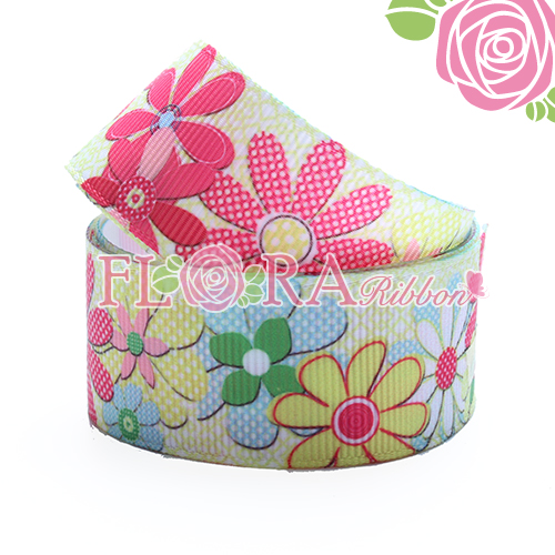 High Quality Polyester Grosgrain Ribbon with Cute Flower Printing Design