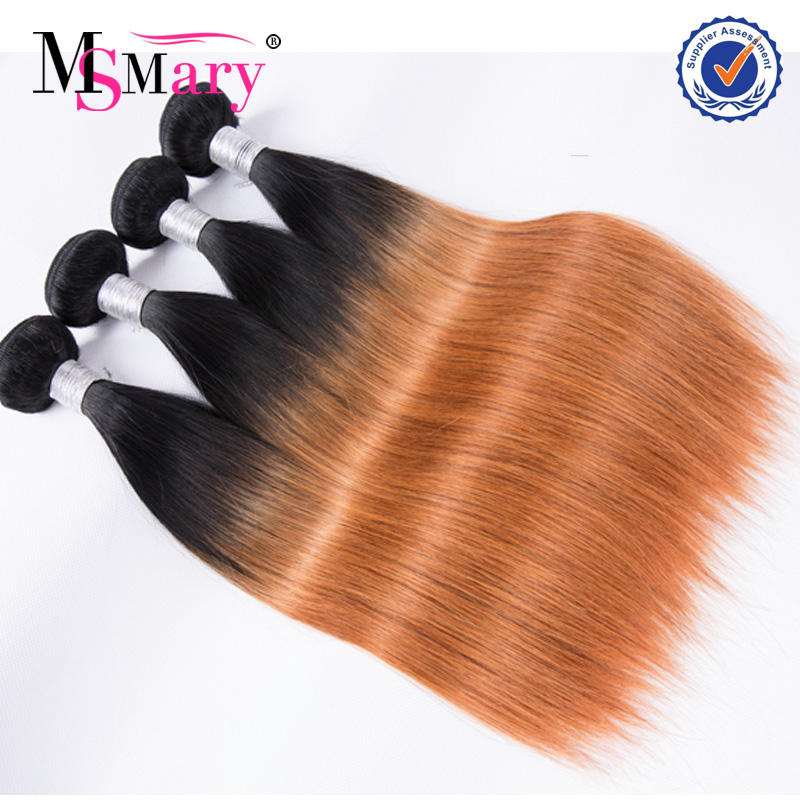 Alibaba best selling ombre brazilian human hair extensions two tone orange hair weave