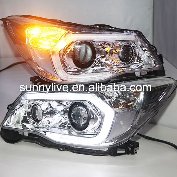 2013-2014 year Chrome Housing for Subaru Forester LED Head Lights with Porjector Lens PW
