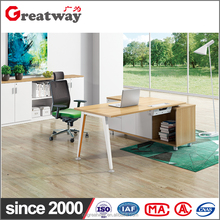 Simple design modern office mesa desk with strong wood frame executive table tempered glass office furniture