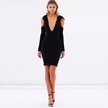 Z92331A Sexy Open Front Black Short Women Dress Bodycon Bandage Black Dresses For Ladies