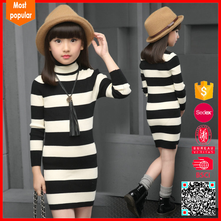 Hot selling knitted turtleneck strip long wool sweater design for girl