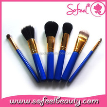 6pcs Beauty Need Makeup Brush Set with Brand Name Blue and Gold Makeup Brush Set