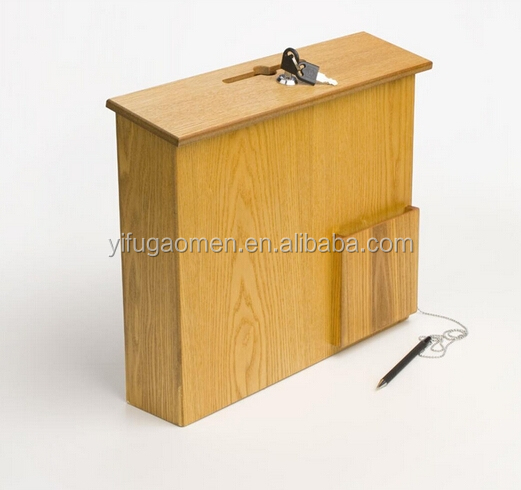 Hotsale new wooden donation boxes with locks