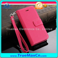 PU Leather + Lanyard Lichi Pattern, Factory Price Cover Case For iPhone 5S Leather Case