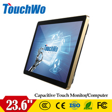 Desktop 23.6 inch led backlight golden all in one /kiosk with simple desktop stand for free