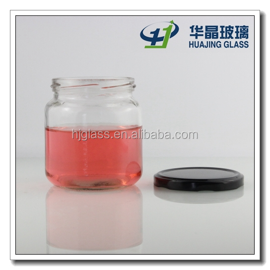 High quality 450ml 16oz airtight glass jam jar with black metal lid for preserving rose jam and strawberry jam