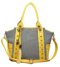 Alibaba 2016 latest design women canvas handbag with PU trim