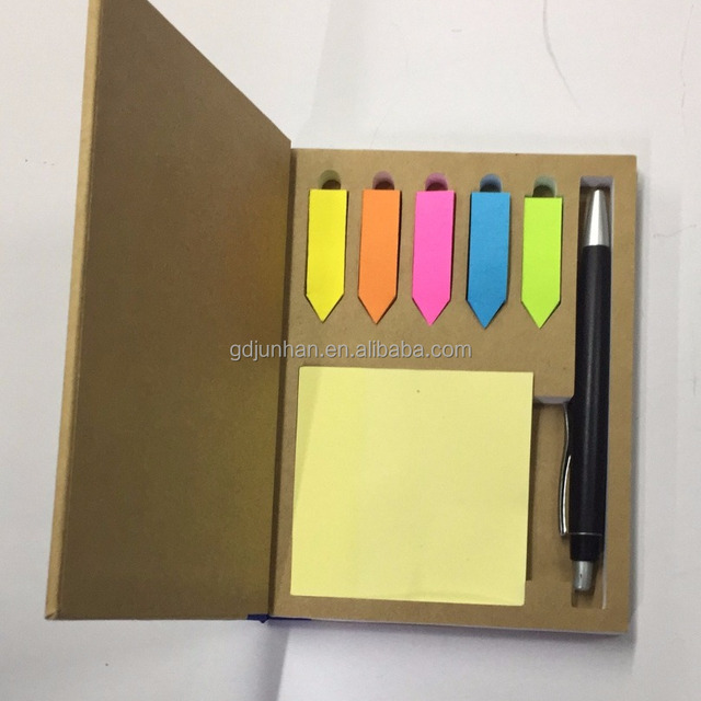 Environmentally-friendly hard cover with calculator A5 size notebook with memo paper and pen inside