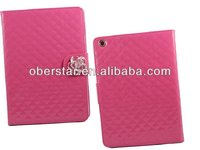 2014 high quality flip PU leather case stand with camellias flower for iPad 5