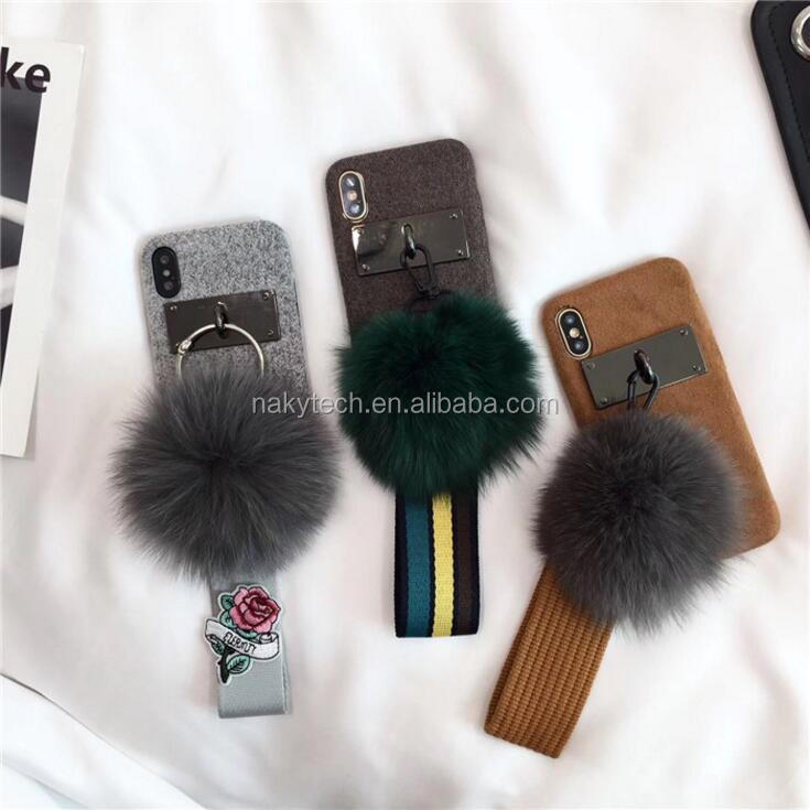 Winter Hot Selling Luxury Girl Faux Fox Fur Tassels Pendant Plush Soft Mobile Shell for iPhone X