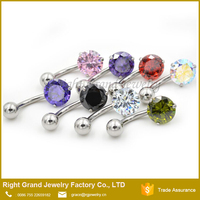 Stainless Steel Claw Cubic Zircon Purple Navel Ring Body Piercing Jewelry Belly Ring