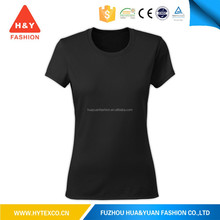 2015 Hot sale promoitonal womens OEM printing black bamboo fiber cotton tshirt--7 years alibaba experience