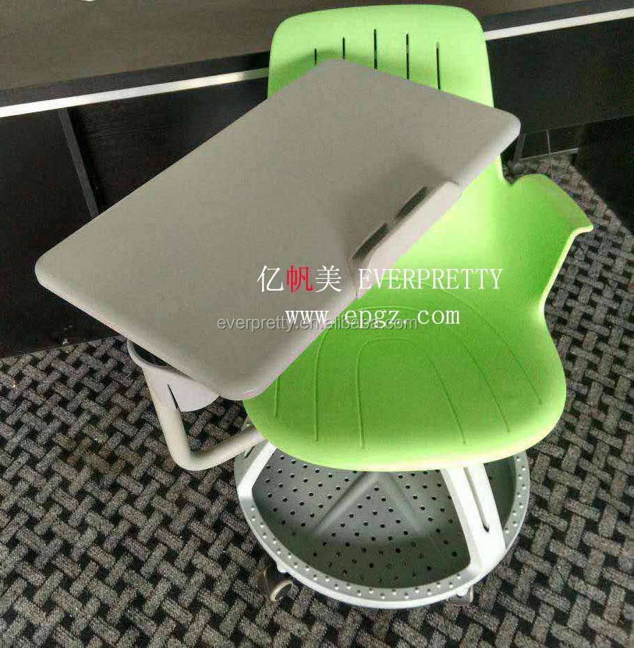 School Furniture Supplier Plastic Tablet Arm Chairs with Folding Pad