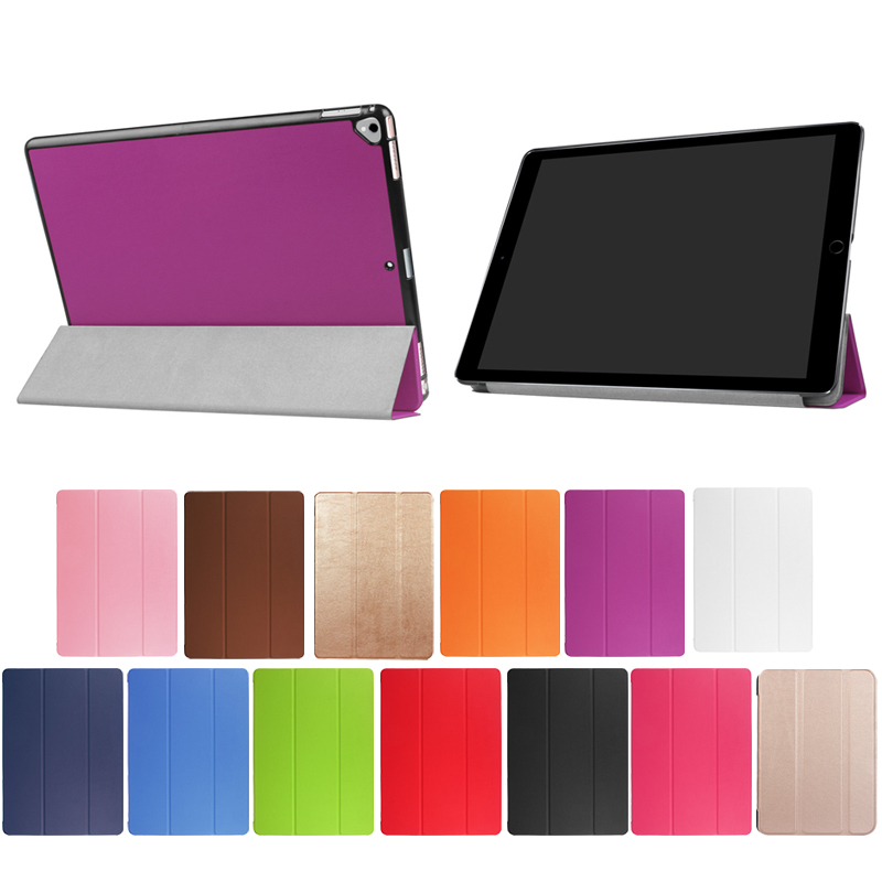 Hot candy solid color Three fold Custer protect leather case for ipad pro 12.9 2017