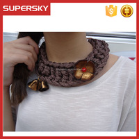 B-521 Bib handmade crochet necklace with vintage leather flowers brown knitted necklace luxury necklace