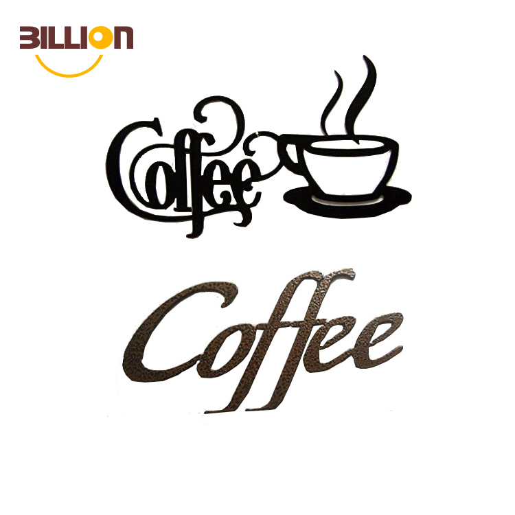 Black Iron Coffee Sign Coffee Shop Logo Home Romantic Wall Art Decorative