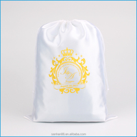 Short sample time drawstring hair extension pouch bag with logo printing