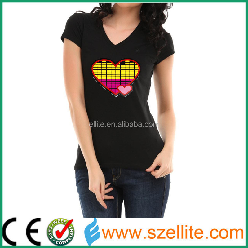led light up t shirts sound activated camiseta led personalizada