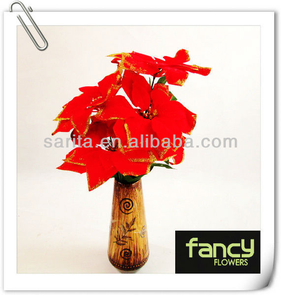 "2013 New Arrival 5 heads 19"" Height gilt-edged red christmas artificial flowers"