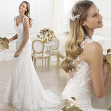 ZM 16108 sexy lace mermaid wedding dress with low v back design wedding dress bridal gown