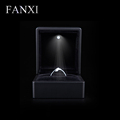 FANXI Alibaba China Vintage Black Rubber Engagement Ring Gift Boxes Packaging Led Light Ring Box