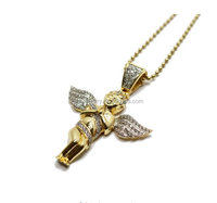 custom high quality stainless steel gold plated angel shape necklaces cute jewelry cheap bulk wholesale