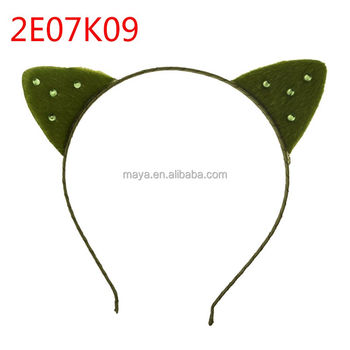 2018 New design girl cute plush cat hair bands with metal hairband for kids accessories