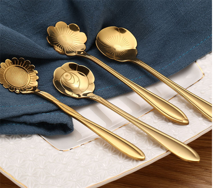 stainless steel flower metal coffee spoon coffee stirring spoon
