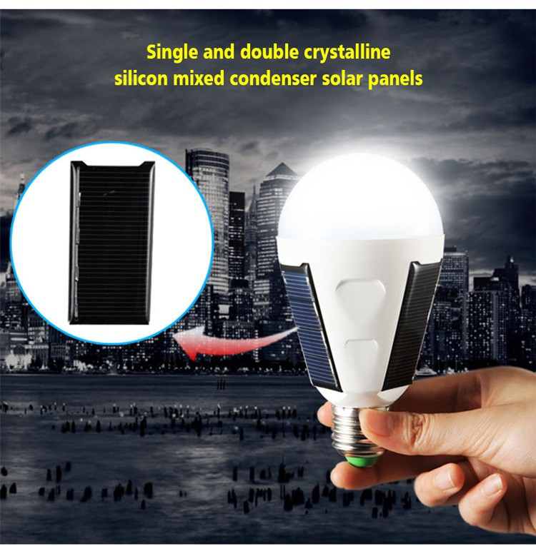 2017 new design 7w Solar panel intelligent rechargeable led emergency lamp e27 with inside battery