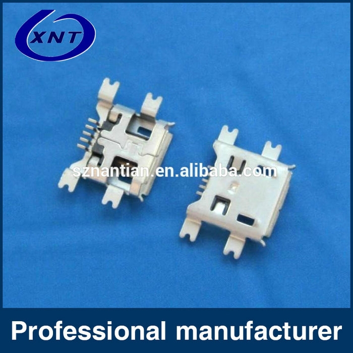 Super Durability 0.7MM Copper Alloy 5 Pin Female Microusb Connector