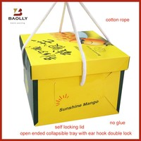 Folding cardboard paper cake box packaging with handle
