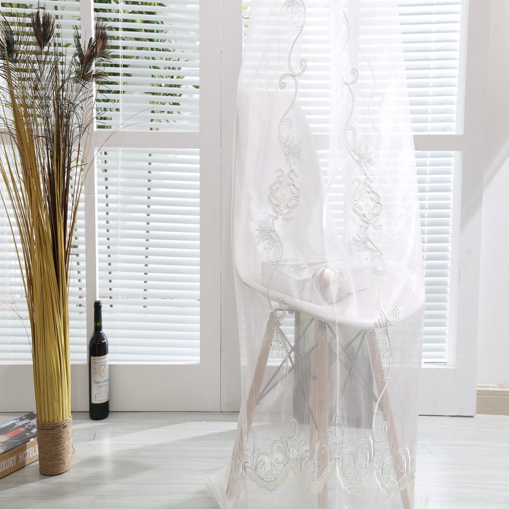 New arrival white tulle hand embroidery fabric lace curtain for home interior drapery decorating