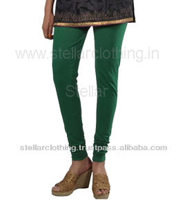 WOMEN'S SOLID GREEN LEGGINGS