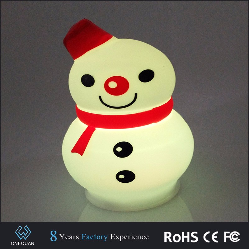 Silicone caroon snowman battery operated table lamps color changing led night lights with clap sensor