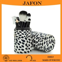 Factory direct 7pcs makeup brush factory produced with cow print cylinder case