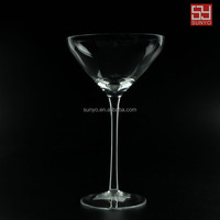 Open wide mouth clear high quality Margaret glass with long stem clear transparent customized size martini
