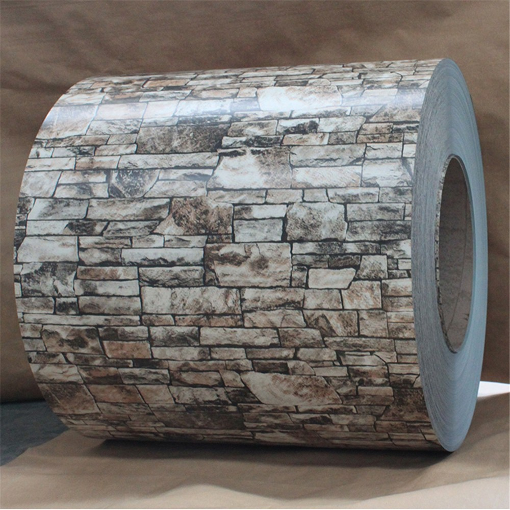hot rolled color cotaed aluminum/aluzinc steel coil with brick pattern