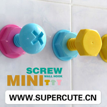 XXL screw shape plastic adhesive no nail decorative wall hook colorful