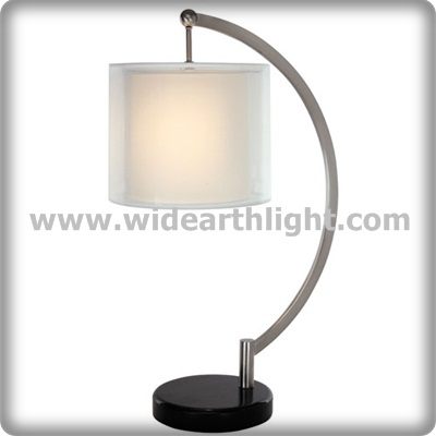 UL Listed Modern Hotel Room Black Marble Base Table Light Lamp With Two Layers Fabric Shades T80435