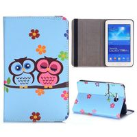 Cute Pattern PC and PU Leather Flip Cover for Samsung Galaxy Tab 3 Lite T110 T111