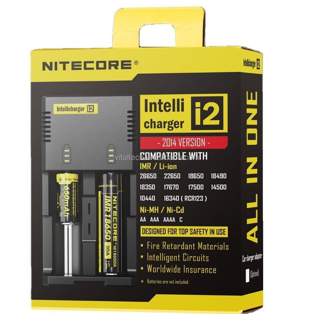 original nitecore i2 imr/li-ion 18650 35A battery 3.7v charger 2bay/slots quick intellicharger hg-1206w dual battery charger