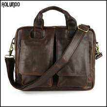Soft leather laptop messenger shoulder bag for men