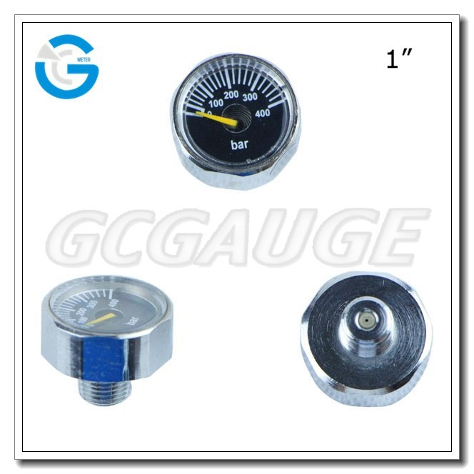 High quality chrome-plated 1inch paintball mini 350bar high air pressure gauge