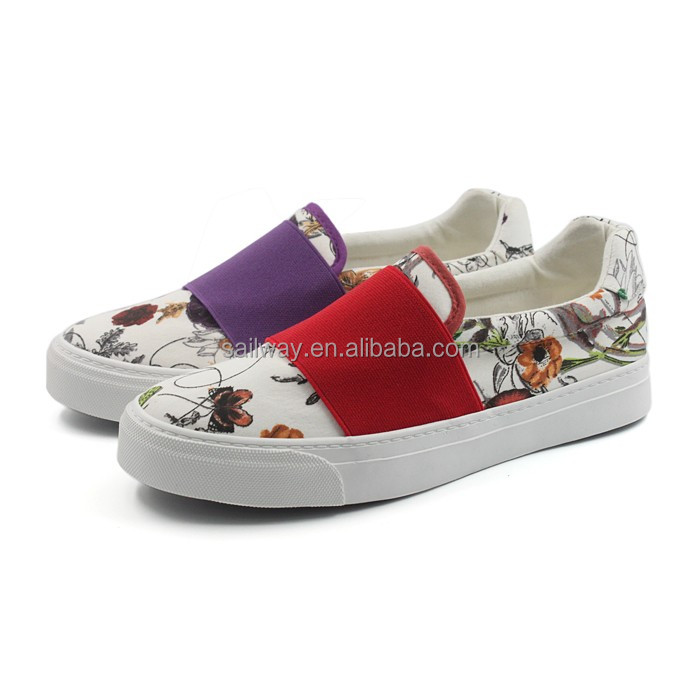 2017SS print flower canvas shoes rubber sneaker elastic slip-on