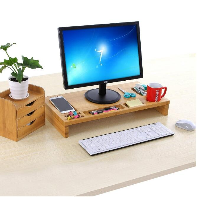 Green eco-friendly bamboo wood monitor computer table stand riser for imac, macbook